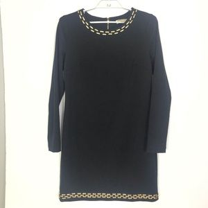 Michael Kors Black Gold Stud Collar Dress 10